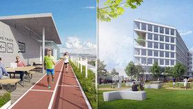 Unikátní kancelářská budova v Holešovicích: Bude tam kino, zahrada a na střeše běžecká dráha