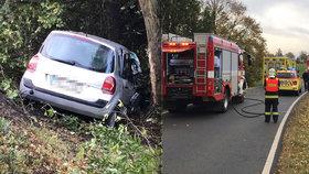 Nehoda komplikovala dopravu ve Vinořské ulici. Starší žena narazila autem do stromu