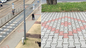 Plzeňský chodník pokryly kosočtverce: Smáli se, že je to kvůli příjezdu Zemana, vzpomíná starosta