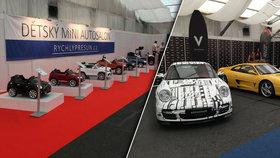 Luxusní auťáky v Holešovicích: Na výstavišti představují 250 modelů i mini kopie pro děti