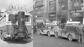 Když za války nebylo co tankovat: Po Praze jezdila auta s prapodivnými kamny