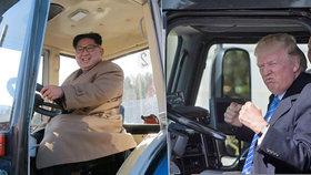 Vysmátý Kim Čong-un řádil v traktoru: Kopíruje úhlavního nepřítele Trumpa?