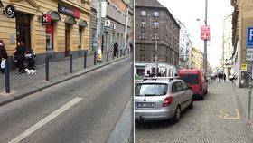 Chodník na »Strossu« lemují nové sloupky: Mají zabránit parkování aut zásobování