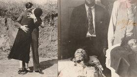 Poslední polibek Bonnie a Clydea? Utajené fotky zachycují jejich poslední hodiny a smrt