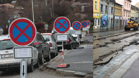 Dopravní »peklo« v Zenklově začalo. U úřadu Prahy 8 vyrostl les dopravních značek