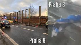 Vichr v Praze: Svlíknul Negrelliho viadukt, protihlukovou stěnu na Českobrodské rozmetal na kusy