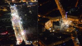 VIDEO: Silvestrovská Praha z ptačí perspektivy: Takhle vypadalo slavící město krátce po půlnoci