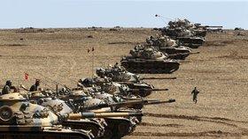 Turecké tanky v pohotovosti proti postupu džihádistů