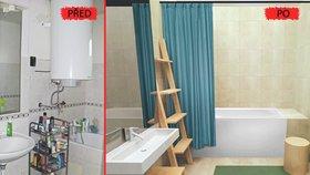 Vlevo vidíte realitu koupelen mnohých z nás, vpravo návrh, jak by mohla místnost vypadat po rekonstrukci