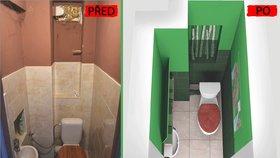 Díky barevnému experimentu s výraznými odstíny zelené barvy a neotřelými doplňky získal neútulný, neosobní a postupně dosluhující prostor toalety hravý výraz.