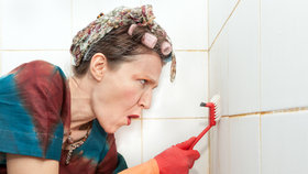 Nikdy nedrzněte plíseň mezi dlačdičkami kartáčem nasucho. Jen si roznesete spory po celé místnosti.