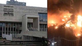Knihovna Ústavu vědeckých informací pro společenské vědy Ruské akademie věd na jihozápadu Moskvy hoří již neuvěřitelných 12 hodin!