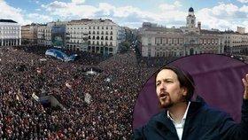 Šanci na výhru ve volbách má ve Španělsku levicová strana Podemos (Můžeme). Na její podporu v Madridu demonstrovaly stovky tisíc lidí.
