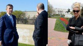 Andrej Babiš před Pentagonem, Monika Babišová před Bílým domem