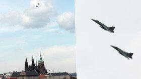 Gripeny nad Prahou: Stíhačky vzlétly k upomínce 70 let od konce 2. světové války