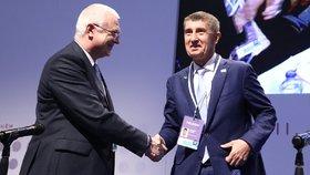 Jaroslav Faltýnek a Andrej Babiš na sněmu ANO