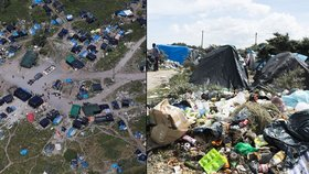 Pohled na uprchlické stanové městečko New Jungle