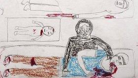 Děsivé obrázky od syrských dětí. Nakreslily krev i usmívající se mrtvolu