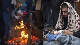 Místo ráje zažívají uprchlíci peklo: Děti padají únavou, lidé mrznou na kost