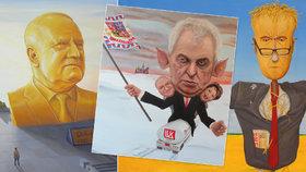 Prezident s prasečími oušky, Babiš strašákem: 17. 11. musely karikatury ze zdi