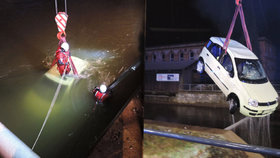 Řidič sjel s vozem do řeky Jizery, ve vodě byl příliš dlouho