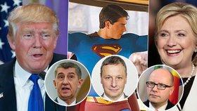 """Babiš """"volí"""" Trumpa, Sobotka Clintonovou. U Čechů má ale šanci i Superman"""