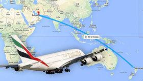 Nejdelší let na světě trvá přes 17 hodin! Z Aucklandu do Dubaje se letí 14 tisíc kilometrů