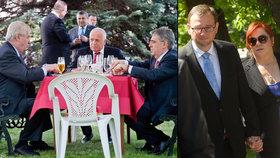 Recepce u Rusů: Nečas s manželkou přišli ruku v ruce, Zeman popíjel s Klausem