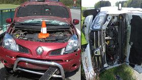 Senior způsobil na dálnici D3 dvě nehody během pěti hodin.
