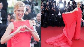 Hvězda rudého koberce Petra Němcová: V Cannes roztočila svou nádhernou róbu