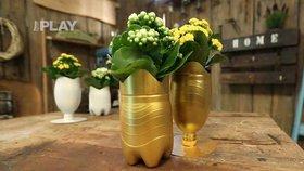 Neskutečná proměna: Láďa Hruška udělá z obyčejné PET lahve nádherný zlatý květináč