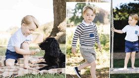 Nové narozeninové fotky prince George (3): O zmrzlinu se dělil se psem a balancoval na houpačce