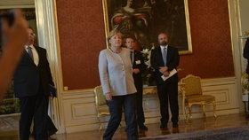 Angela Merkelová a prezident Miloš Zeman na Pražském hradě