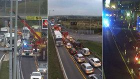 Kolaps dopravy v Praze: Kamion zablokoval vjezd do města, pak zavřeli Blanku