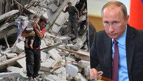 Tvrdá kritika z EU: Putin nedrží slovo. Ze Sýrie dělá peklo, kde umírají děti