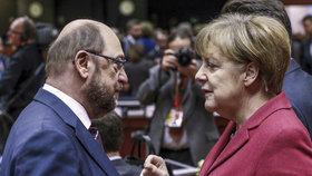 Schulz a Merkelová