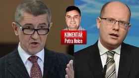 Vicepremiér Andrej Babiš (ANO, vlevo) a premiér Bohuslav Sobotka (ČSSD) v komentáři Petra Holce