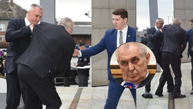 Zeman padal na schodech, ochranka ho chytila. Ztratil při tom botu