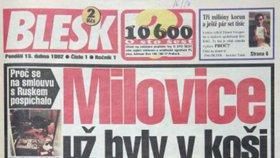 Titulní strana Blesku z 13. 4. 1992