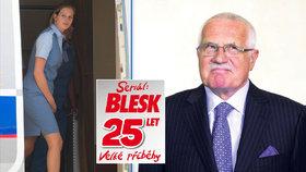 Exprezident Klaus byl kdysi vysazený na mladé letušky. Jedna z jeho milenek se vdala.