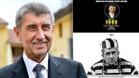 Vicepremiéra Babiše vyobrazili autoři webu ve vězeňském mundúru