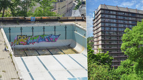 Lesk a bída festivalového hotelu: Bazén u Thermalu posprejovali vandalové.