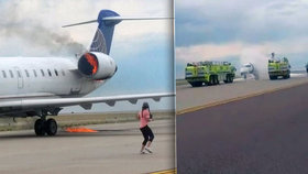 Letadlu United Airlines se vznítil motor: 65 pasažérů utíkalo před ohněm