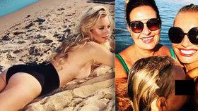 Sexbomba Borhyová: U moře nahoře bez! Pak dováděla s maminkou a dcerou v moři