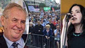 Šárka proti Zemanovi shromáždila tisíce lidí. Ve volbách radí kroužkovat osobnosti