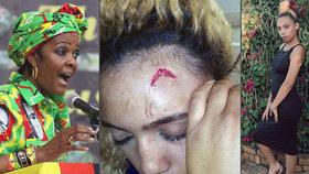 První dáma Zimbabwe čelí obvinění, že napadla elektrickým kabelem dvacetiletou modelku.