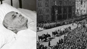Tomáše Garrigue Masaryka vezla Prahou při jeho pohřbu lafeta