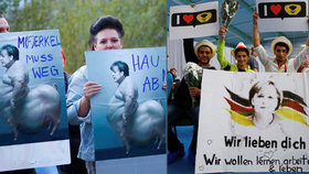 Protest proti Merkelové ve Schwerinu: Demonstranti použili i ponižující karikaturu. Jinde kancléřce projevují podporu.