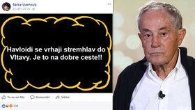 Komentář JXD: Havloidi se vrhají z mostu. Lid na Facebooku nechutně oslavuje smrt Jana Třísky