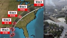 Hurikán Nate dosáhl americké pevniny. New Orleans, které zpustošil hurikán Katrina (snímek vpravo), se ale vyhnul.
